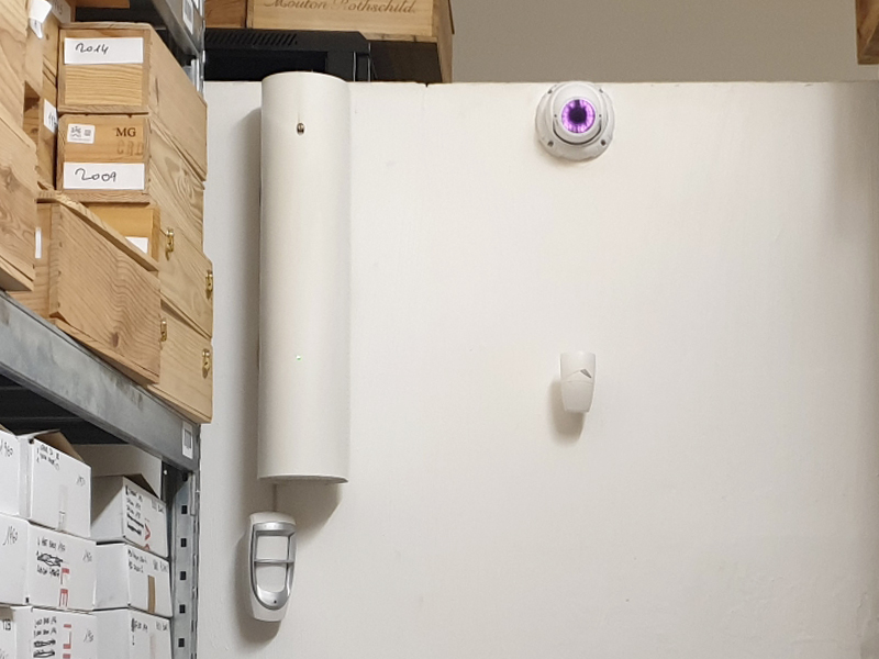 Secure storage space with motion sensors and video surveillance