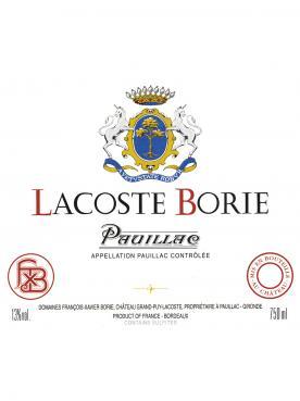Lacoste Borie 2015 Caisse bois d'origine de 6 bouteilles (6x75cl)
