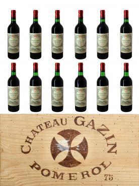 Château Gazin 1975 Caisse bois d'origine de 12 bouteilles (12x75cl)