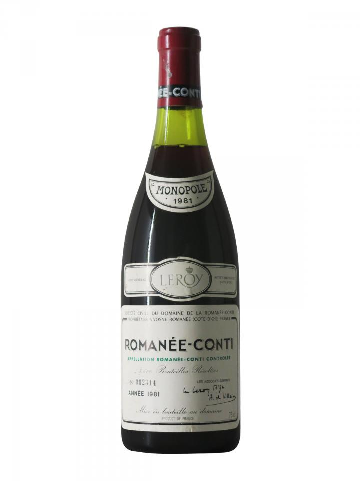 Romanée-Conti Grand Cru Domaine de la Romanée-Conti 1981 Bouteille (75cl)